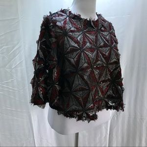 Garcia red and black short sleeve crop top